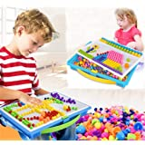 LONTG 295 PCS Mushroom Nails Puzzle Board Mosaic DIY Science Pile up Toys Creative Mosaic Peg Board Jigsaw Puzzle Game Educational Toys for Children Girls Boys Age 2-9 Years (Tamaño: 295 PCS)