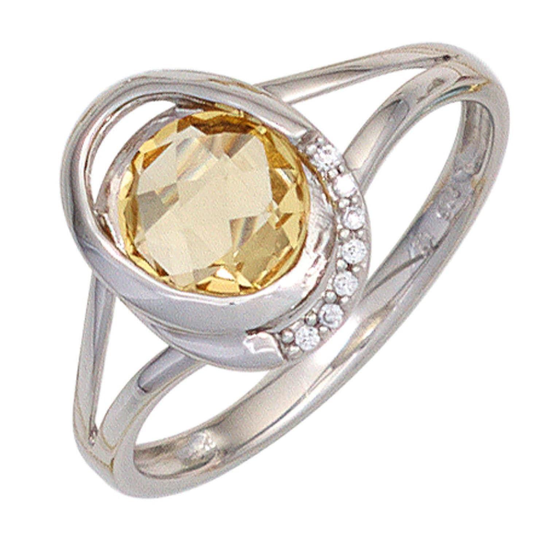 Damen Ring 585 Weißgold 1 Citrin gelb 7 Diamanten Brillanten günstig