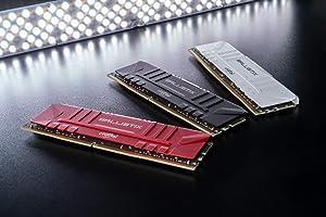 Crucial Ballistix 3200 MHz DDR4 DRAM Desktop Gaming Memory Kit 64GB (32GBx2) CL16 BL2K32G32C16U4R (RED) (Color: RED, Tamaño: STANDARD: 64GB (32GBx2))