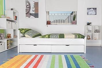 """Tagesbett / Gästebett """"Easy Sleep"""" K1/2n inkl. 2 Schubladen und 2 Abdeckblenden, 90 x 200 cm Buche Vollholz massiv weiß lackiert"""