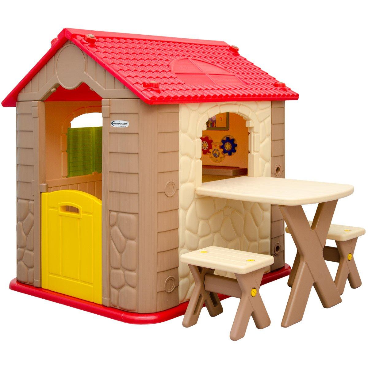 eyepower Kinderspielhaus mit Tisch und 2 Bänken Spielhaus aus Kunststoff für Jungen und Mädchen online bestellen