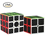 Dreampark 2 Pack Speed Cube 2x2 3x3 Carbon Fiber Sticker Magic Cube Twisty Puzzle Toy Christmas Birthday Gifts for Kids Set of 2 (Color: Black)
