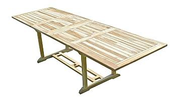 C&L Jardin MJETABATS Batan Table de Jardin en Teck Beige 280 x 90 x 75 cm 10/12 Chaises