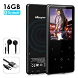 MP3 Player with Bluetooth, Mbuynow 16GB Lossless Sound Music Player 2.4 Inch Screen with FM Radio Voice Recorder Touch Button E-Book Reader Support Up to 128GB TF Card (Black) (Color: Black)