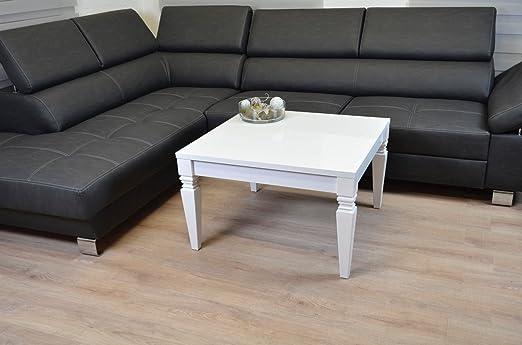 Barock Couchtisch 80x80cm Wohnzimmer LACK Sofa Tisch Kratzfest Hochglanz weiß