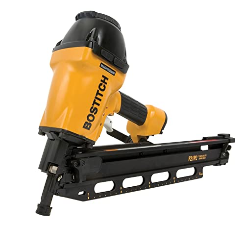 BOSTITCH F21PL Round Head 1-1/2-Inch to 3-1/2-Inch Framing Nailer with Positive Placement Tip and Magnesium Housing via Amazon