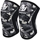 Knee Sleeves (1 Pair), 7mm Neoprene Compression Knee Braces, Great Support for Cross Training, Weightlifting, Powerlifting, Squats, Basketball and More (Color: camo gray, Tamaño: Large)