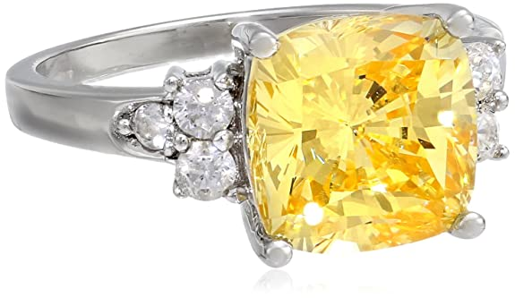 Sterling Silver Yellow Cushion-Cut Cubic Zirconia Ring