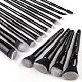 Zoreya Makeup Brushes 15Pcs Makeup Brush Set Premium Synthetic Kabuki Brush Cosmetics Foundation Concealers Powder Blush Blending Face Eye Shadows Black Brush Sets (Color: Black, Tamaño: 15PCS)