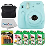Fujifilm instax mini 9 Instant Film Camera (Ice Blue) + Fujifilm Instax Mini Twin Pack Instant Film (80 Shots) + Camera Case + 4 AA Batteries + Photo4Less Cleaning Cloth - Ultimate Accessory Bundle (Color: Ice Blue)