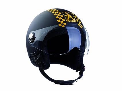 A style 0600480-m casque jet noir/damier/jaune/mat