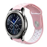 Gear S3 Bands, VIGOSS 22mm Soft Silicone Band Breathable Replacement Strap Wristband for Samsung Gear S3 Frontier and Gear S3 Classic Smart Watch (3-Pink/White) (Color: 3-Pink/White)