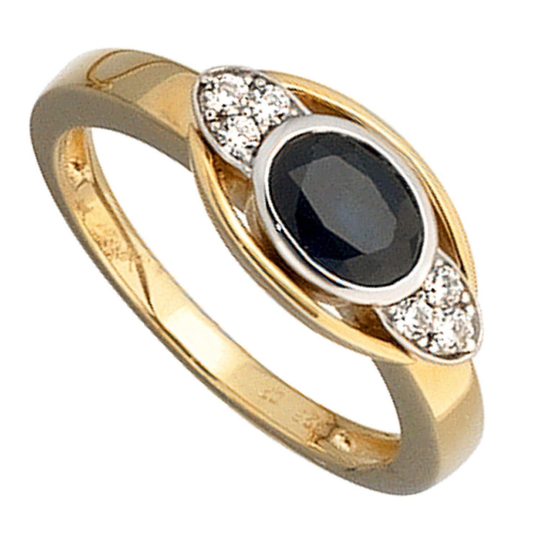 Damen-Ring 585 Bicolor Gold 6 Diamant-Brillanten 1 blauer Safir günstig bestellen