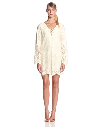 Twelfth Street by Cynthia Vincent Women's Scallop Lace Bell Sleeve Shift Dress, Cream, Medium