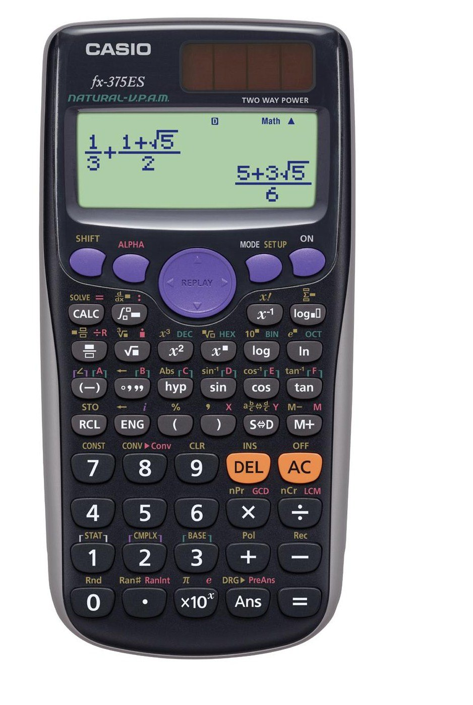 CASIO カシオ 関数電卓 394関数・機能数 数学自然表示 fx-375ES-N ブラック