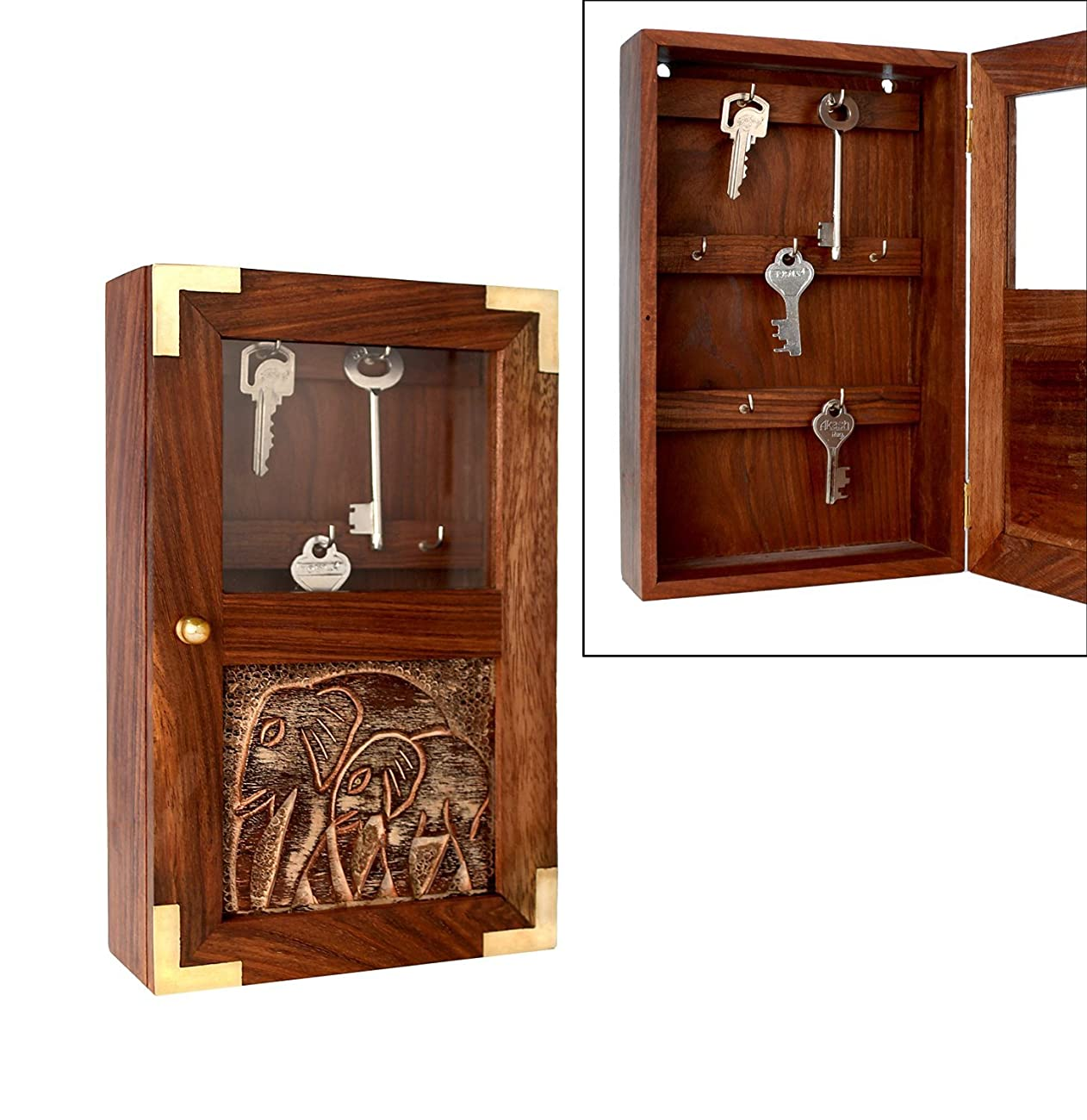 Handmade Decorative Wooden Wall Mounted Key Cabinet with Glass Panel Door & Elephant Carvings 1
