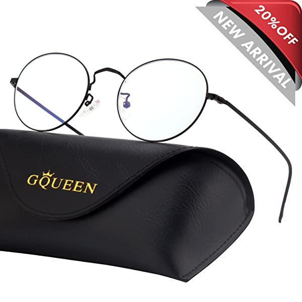 GQUEEN Round Blue Light Blocking Computer Glasses Anti Eye Fatigue with Transparent Lens GQ129 (Color: 50mm Matte Black Frame, Tamaño: Medium)
