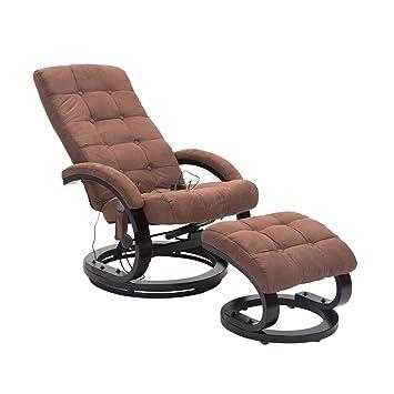 Homcom 700-035BN Massagesessel TV Sessel Relaxsessel Fernsehsessel, Lederimitat, braun, 67.0 x 86.0 x 115.0 cm