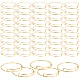 SAYAYA 50 Pieces Expandable Bangle Blank Bangle Bracelets Adjustable Bracelets for Jewelry Making (Gold) (Color: Gold)