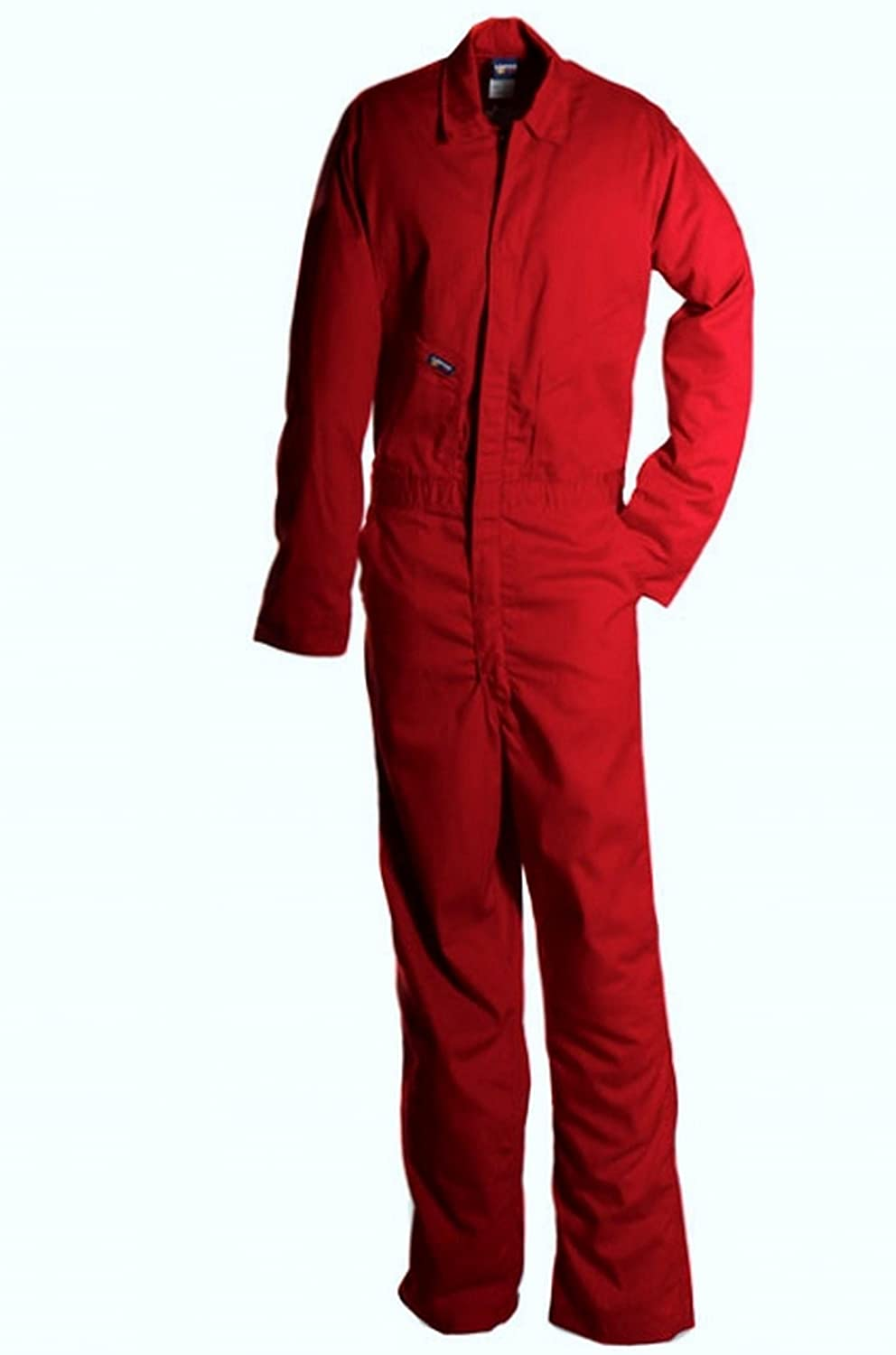 LAPCO CVFRD7RE-SM ST Lightweight 100-Percent Cotton Flame Resistant Deluxe Coverall, Red, Small, Short