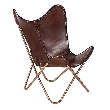 Echtleder Sessel BUTTERFLY Leder braun Eisengestell in Kupfer