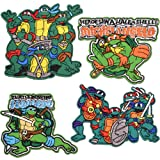 Iron On Patches-4 pcs Cowabunga Teenage Mutant Ninja Turtles Tactical-Backed Morale Embroidered Sew On Patch (Color: Ninja Patch)