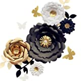 Fonder Mols 3D Paper Flower Decorations(Set of 13, White Black Gold), Giant Paper Flowers for Wedding Backdrop, Graduation Party, Bridal Shower, Wedding Centerpieces, Nursery Wall Decor (Color: White Black Gold)