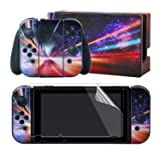 eXtremeRate Full Set Faceplate Skin Decals Stickers and 2 Pcs Screen Protector for Nintendo Switch/NS Console & Joy-con Controller & Dock Protection Kit - Fantasy Galaxy (Color: Fantasy Galaxy)