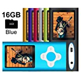 G.G.Martinsen Blue MP3/MP4 Player with a 16GB Micro SD card (Color: Blue-3)