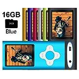 G.G.Martinsen MP3/MP4 Player with a 16GB Micro SD Card, Mini USB Port 1.8 LCD, Digital Music Player, Video/Media Player, MP3 Player, MP4 Player, Support Photo Viewer, Recorder & FM Radio - Blue (Color: Blue-3)