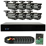 GW Security 8 Channel 4MP DVR 1080P Security Camera System - 8 x 2MP Weatherproof 2.8-12mm Varifocal Zoom Bullet Camera, 72-IR LED 196ft Night Vision, Long Transmit Range, Pre-Installed 2TB HDD (Color: Bullet Camera System, Tamaño: 8 Camera System)