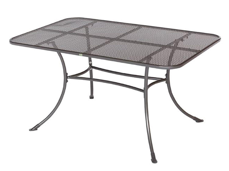 GARDENho.me Streckmetall Tisch BAKI Gartentisch mit stabilem Rundrohrgestell, eisengrau, ca. 145x90cm günstig online kaufen