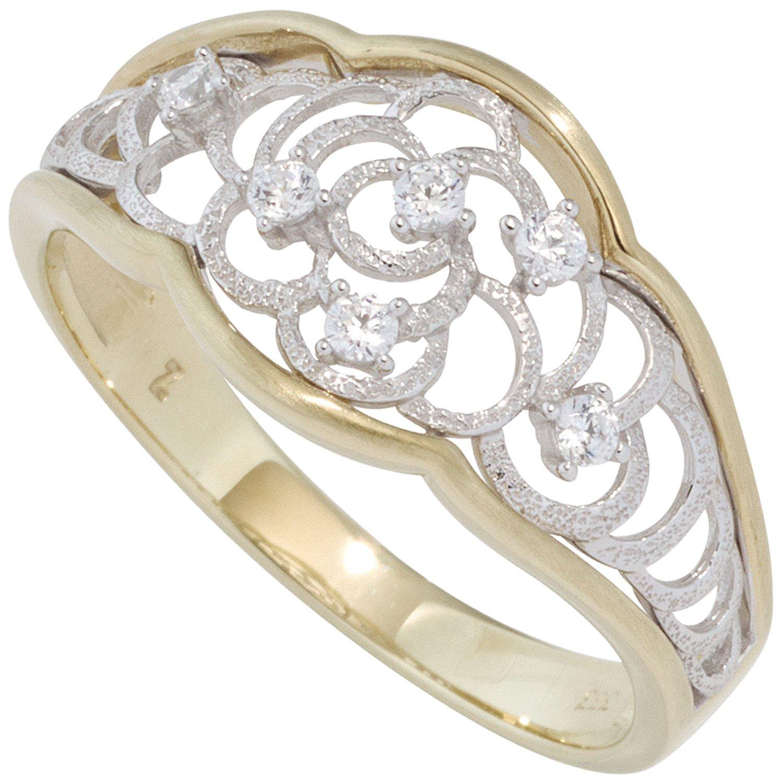 JOBO Damen Ring 333 Gold Gelbgold Weißgold bicolor teilmattiert mit Zirkonia bestellen