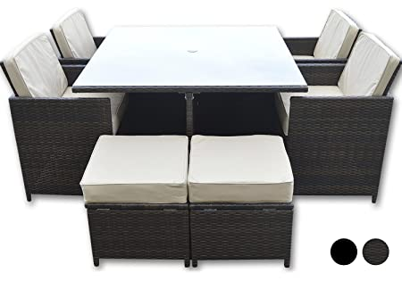Woodside Wyoming Rattan 8 Seat Garden Patio Furniture Dining Cube Set Brown