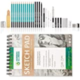 XL Drawing Set - Sketching, Graphite and Charcoal Pencils. Includes 100 Page Drawing Pad, Kneaded Eraser, Blending Stump. Art Kit and Supplies for Kids, Teens and Adults. Hot Sale (Tamaño: Hot Sale)
