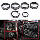 6pcs Aluminum Alloy Car Inner Air Conditioner & Trailer & 4WD Switch Knob Ring Cover Trim For Ford F150 XLT 2016 2017 (Black Whole Set Knob Cover)
