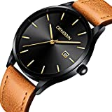 Mens Analog Watch - Leather Classic Watches - Quartz Business Stainless Steel Ultrathin Wrist Watch Calendar Date Window Brown
