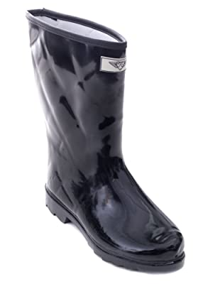 Women Mid Rise Quilted Black Rubber Rain Boots, 7