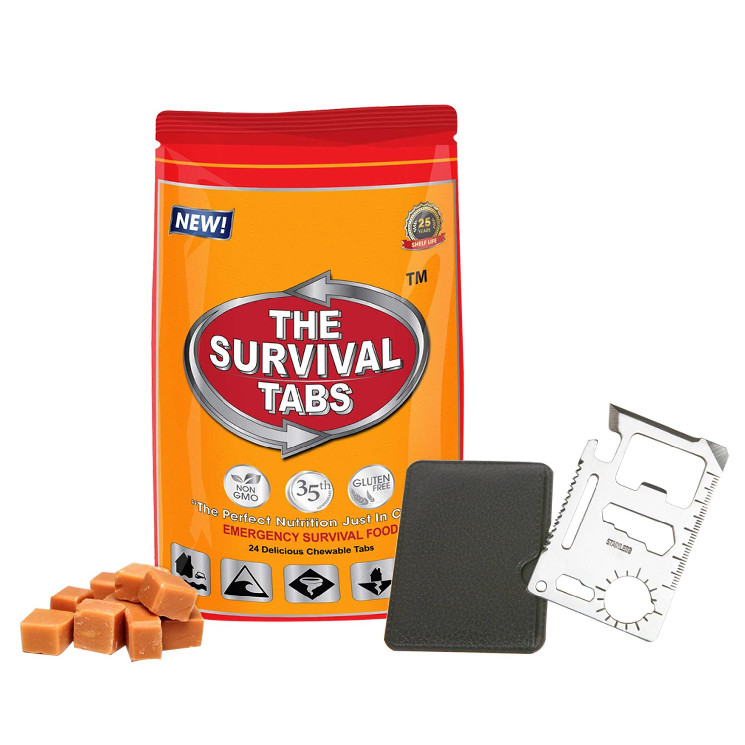 11 in1 Multi Tools Hunting Survival Camping Pocket Military Credit Card Knife + New Advanced Formula MRE Meals Ready-to-eat Survival Meal 2-Day supply 24 tabs Ultimate Bugout Food 25 Years shelf life Gluten Free and Non-GMO - Butterscotch Flavor