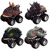 Pull Back Dinosaur Cars, Pawaca 4-Pack Dino Cars Toys with Big Tire Wheel for 3-14 Year Old Boys Girls Creative Gifts for Kids (Color: 4 Pack)