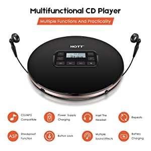Portable CD Player, HOTT Personal Compact Walkman with Electronic Skip Protection Anti-Shock Function, Portable Disc Player with Headphones and Power Adapter (Color: #Black)