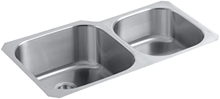 KOHLER K-3356-HCF-NA Undertone Preserve Undermount Double-Bowl Kitchen Sink, X-Large/Medium, Stainless Steel