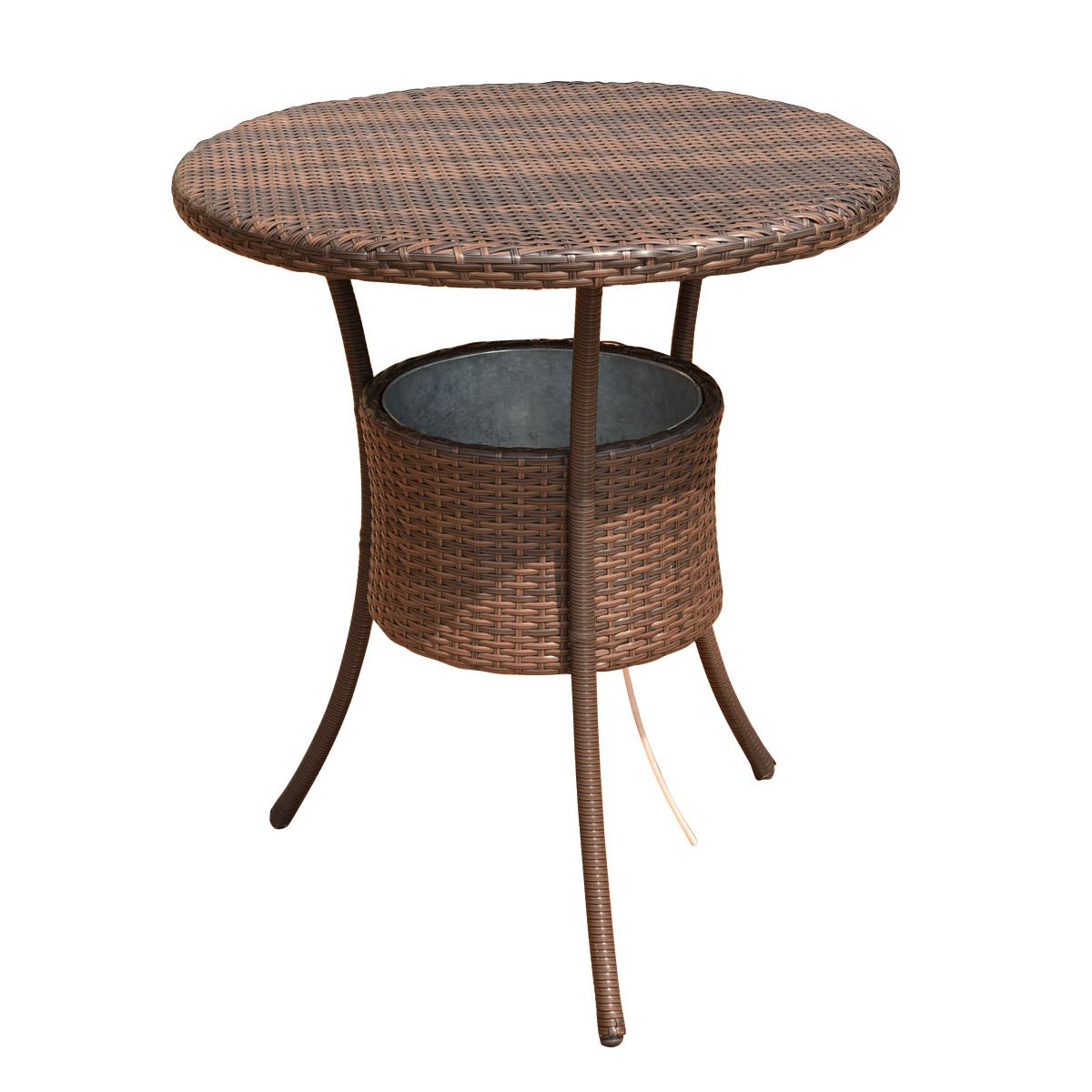 """Costway 31.5"""" 7.9-Gal Cool Bar Rattan Style Outdoor Patio Party Deck Pool Cooler Table With Ice Bucket, Brown"""
