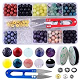 Stone Beads Box Set Kits 240pcs Round Loose Gemstone 8mm Natural Amethyst Black Obsidian Lava Stone Fluorite Assorted with Accessories Tools for Bracelet Jewelry Making Meditation(Stone Beads Kit 2) (Color: Stone Beads Kit 2, Tamaño: 8mm)