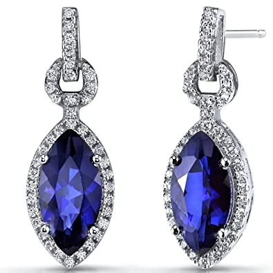 Created Blue Sapphire Marquise Dangle Drop Earrings Sterling Silver 4 Carats