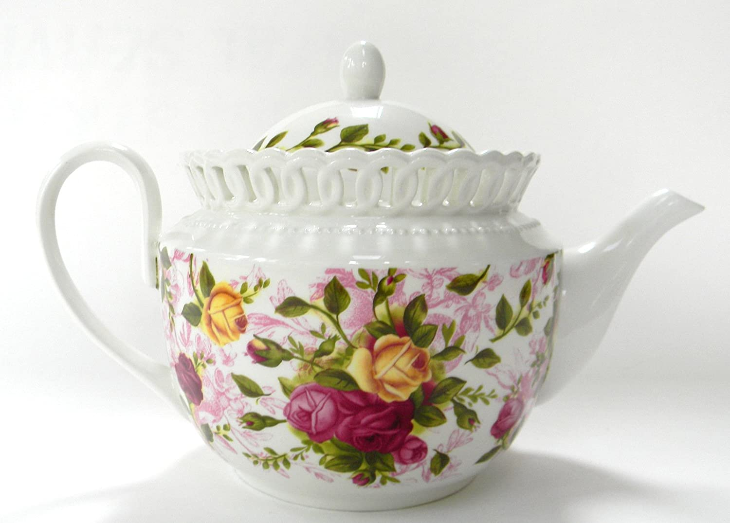 Royal Albert Old Country Roses Teapot Pierced Discontinued