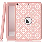 iPad A1893/A1954/A1822/A1823 Case, Hocase Heavy Duty Shockproof Silicone Rubber+Hard Shell Hybrid Protective Case w/ Cute Floral Pattern for iPad 9.7 5th/6th Generation 2017/2018 - Rose Gold Pink (Color: A02 - Rose Gold Pink)