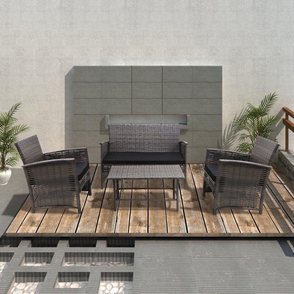 vidaXL Rattan Gartenmöbel Gartenset Sitzgruppe Gartengarnitur Grau günstig kaufen