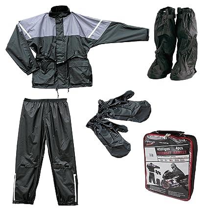 Roleff Racewear 10054 Set Veste et Pantalon Imperméables, Noir/Gris, L