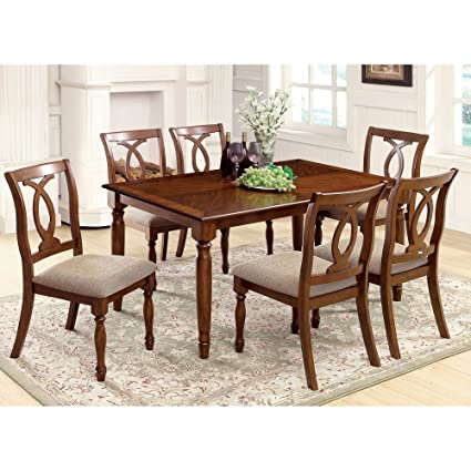 Furniture of America Rochelle 7-Piece Dining Set - Light Oak